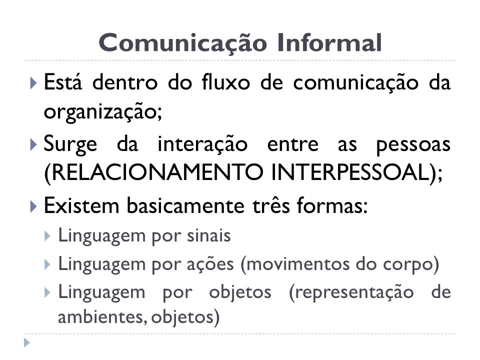 Comunicação Informal Está dentro do fluxo de comunicação da organização; Surge da interação entre as pessoas (RELACIONAMENTO INTERPESSOAL);