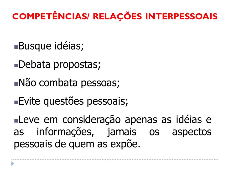 COMPETÊNCIAS/ RELAÇÕES INTERPESSOAIS