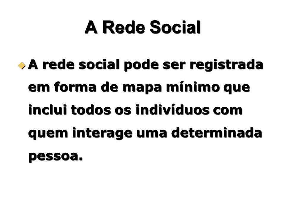A Rede Social A rede social pode ser registrada em forma de mapa mínimo que inclui todos os indivíduos com quem interage uma determinada pessoa.