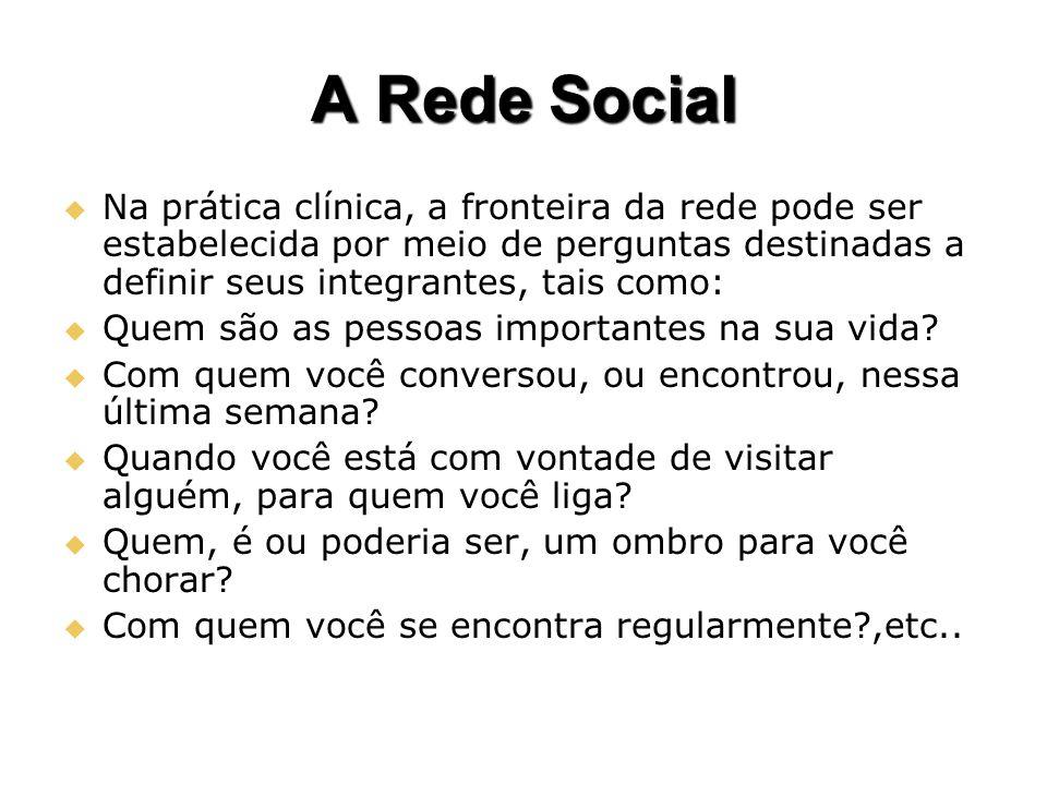 A Rede Social Na prática clínica, a fronteira da rede pode ser estabelecida por meio de perguntas destinadas a definir seus integrantes, tais como: