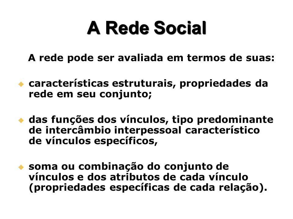 A Rede Social A rede pode ser avaliada em termos de suas: