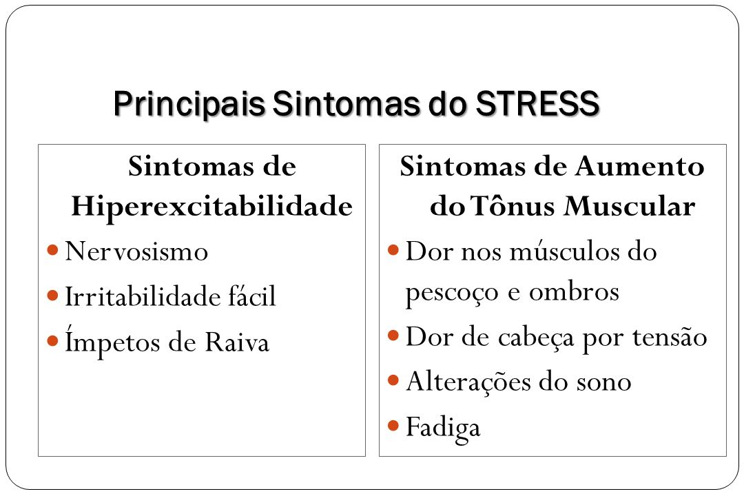 Principais Sintomas do STRESS