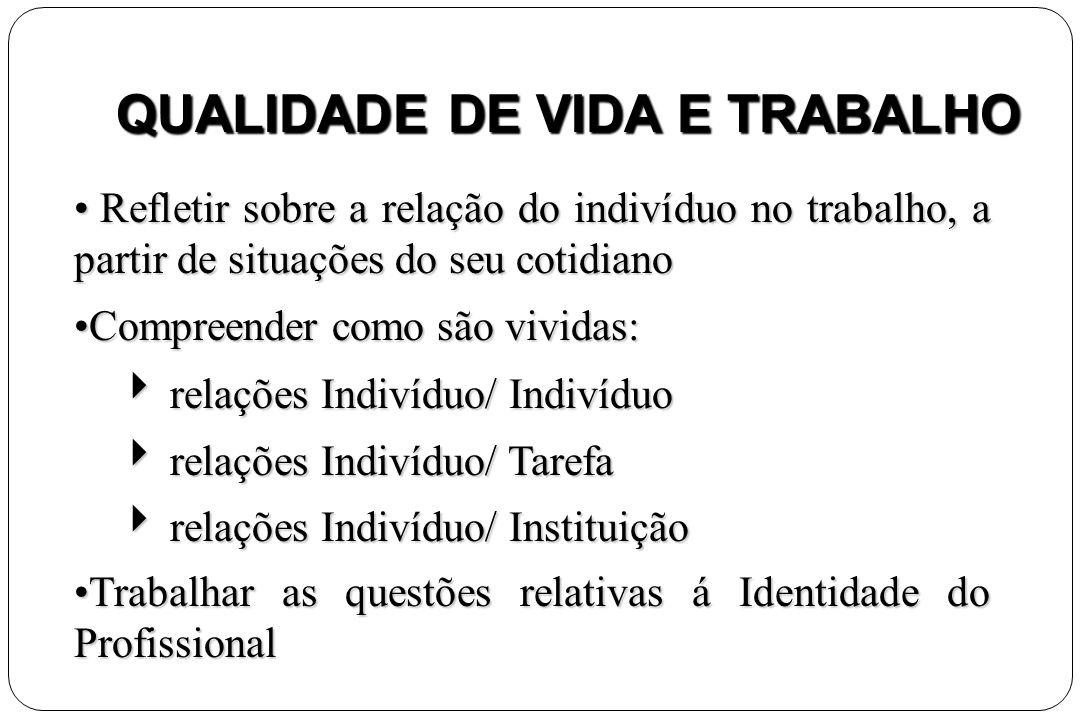 QUALIDADE DE VIDA E TRABALHO