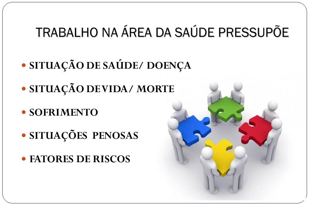 TRABALHO NA ÁREA DA SAÚDE PRESSUPÕE