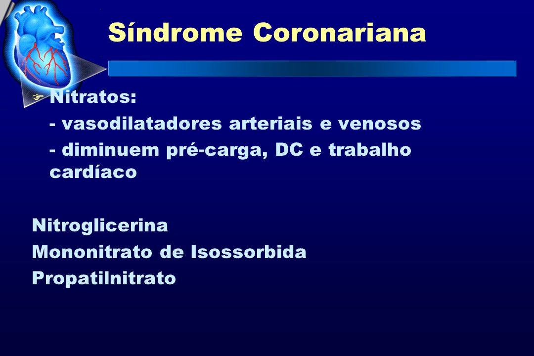 Síndrome Coronariana Nitratos: - vasodilatadores arteriais e venosos