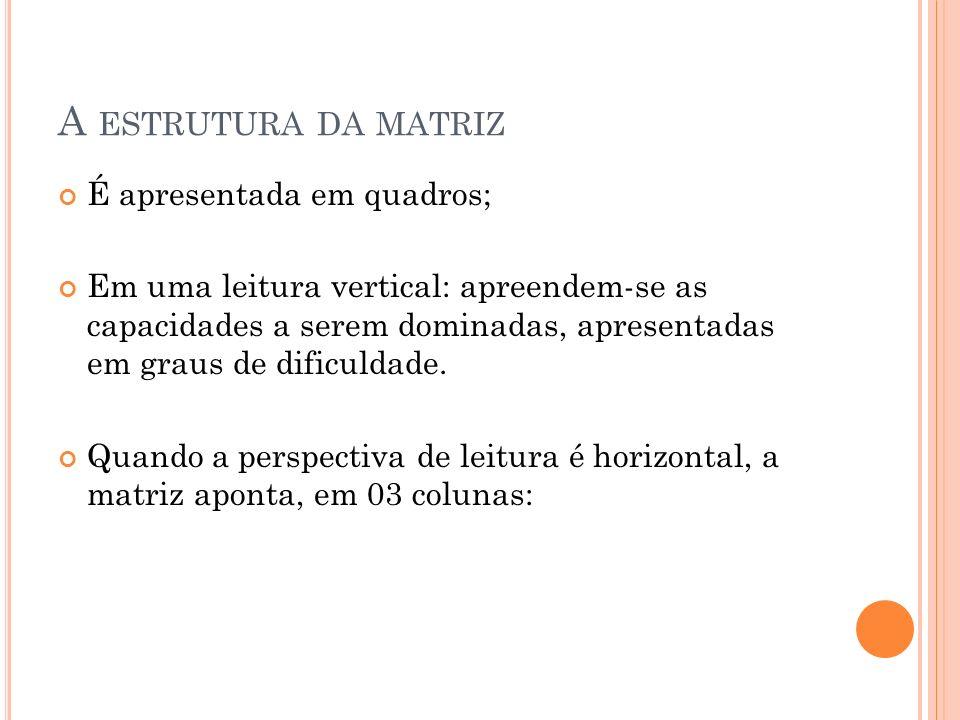 A estrutura da matriz É apresentada em quadros;