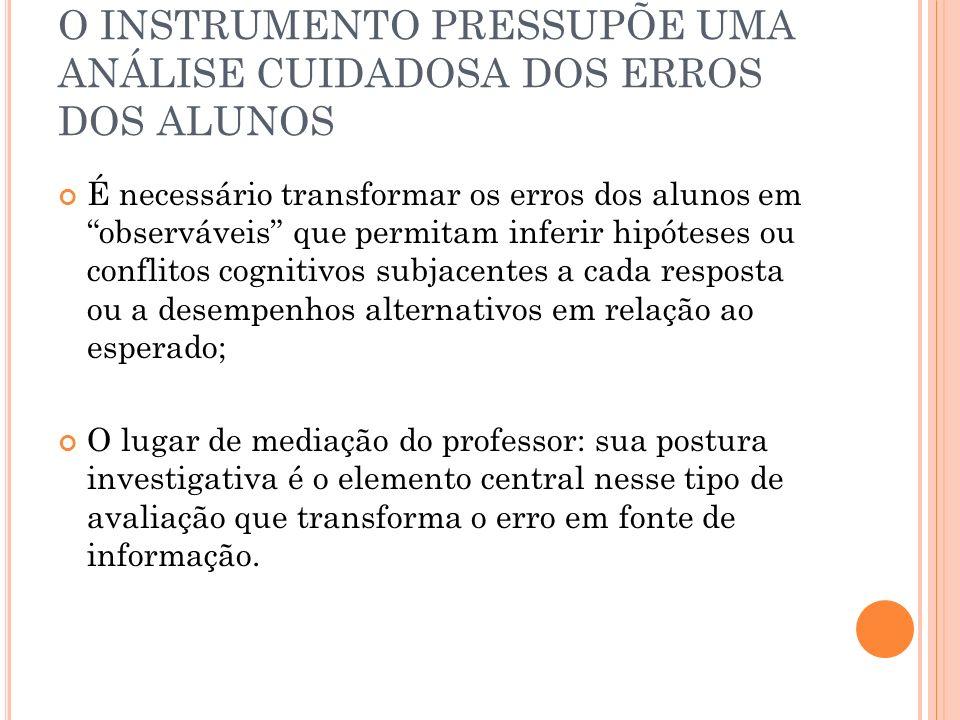 O INSTRUMENTO PRESSUPÕE UMA ANÁLISE CUIDADOSA DOS ERROS DOS ALUNOS