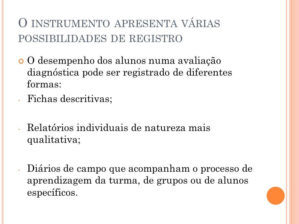 O instrumento apresenta várias possibilidades de registro