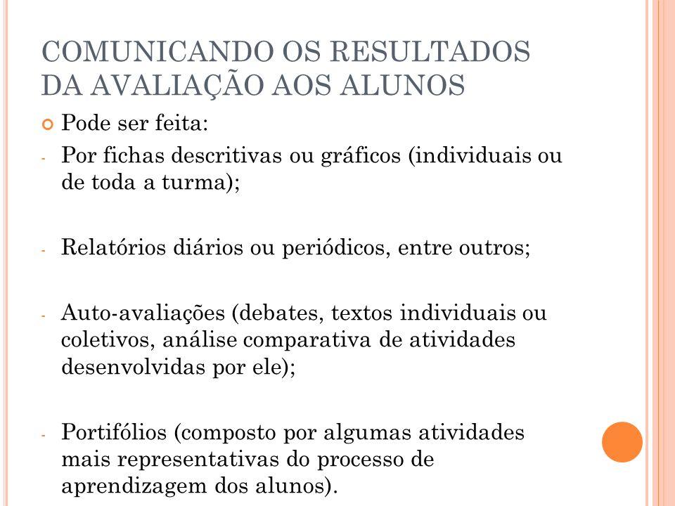 COMUNICANDO OS RESULTADOS DA AVALIAÇÃO AOS ALUNOS