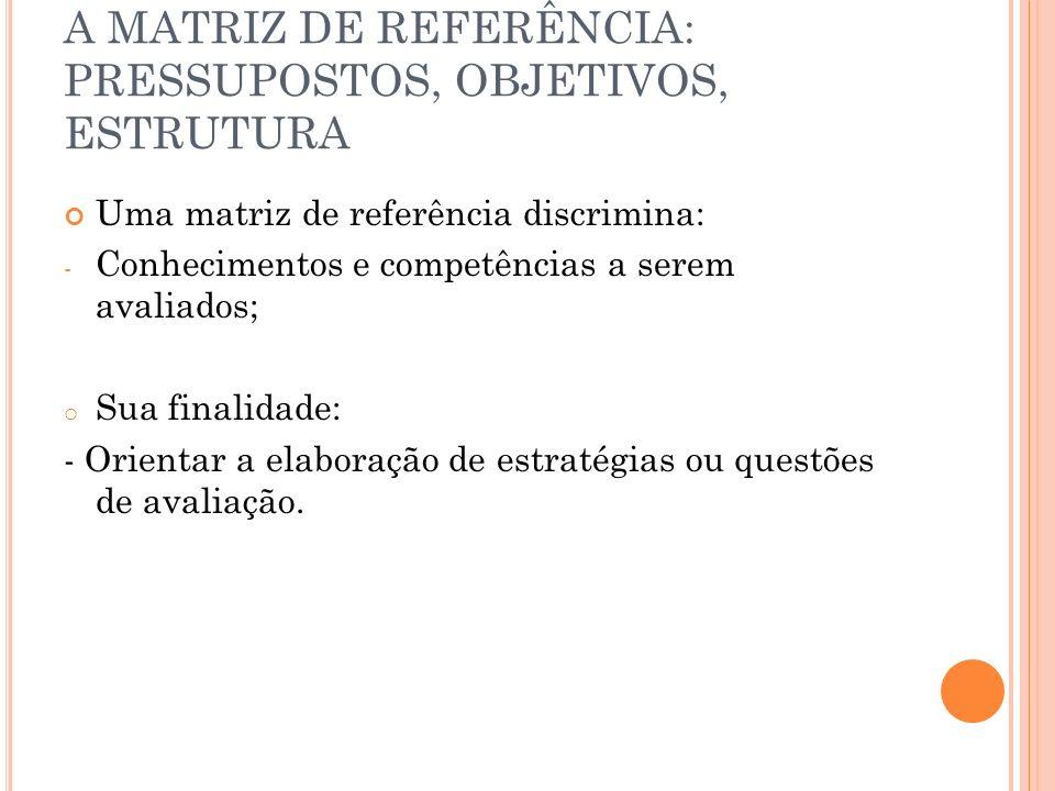 A MATRIZ DE REFERÊNCIA: PRESSUPOSTOS, OBJETIVOS, ESTRUTURA