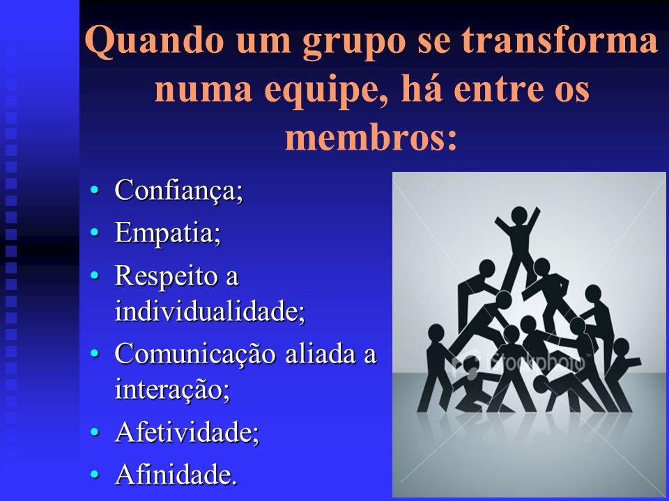 Quando um grupo se transforma numa equipe, há entre os membros: