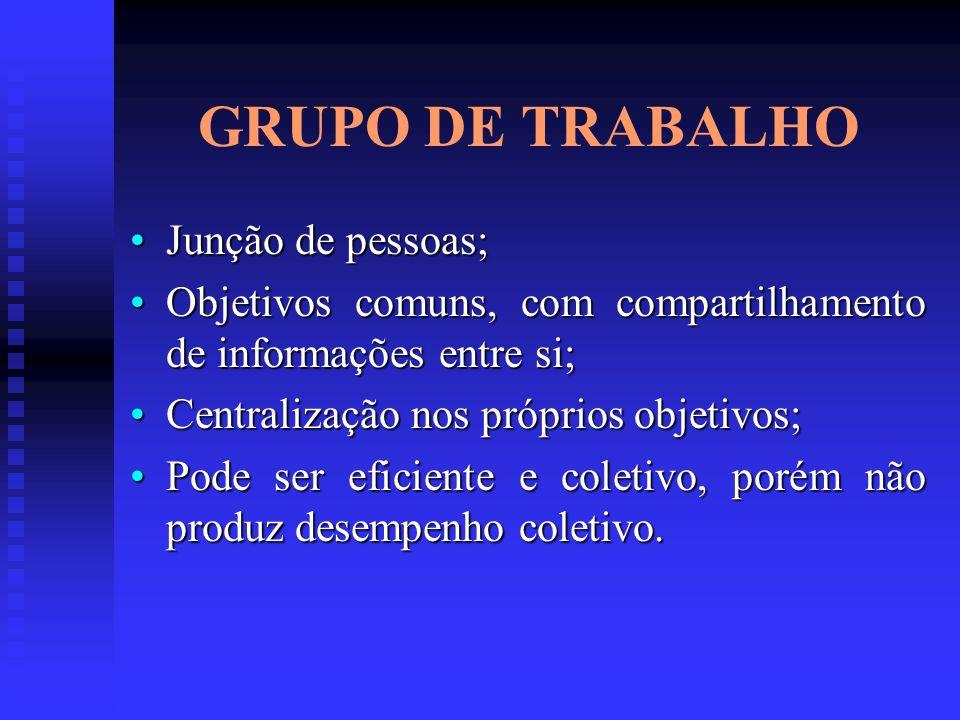 GRUPO DE TRABALHO Junção de pessoas;