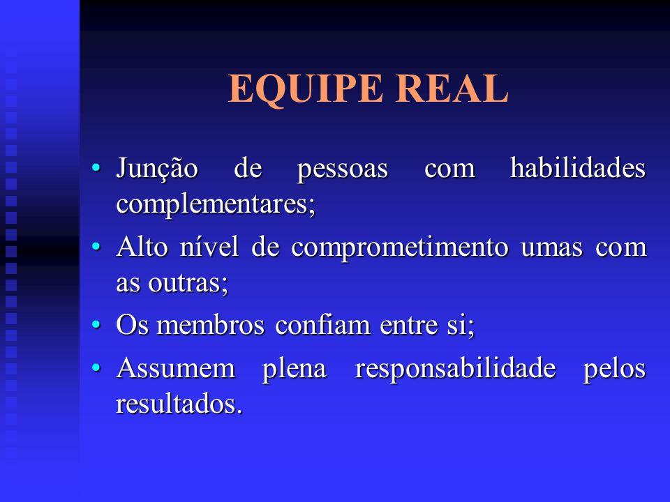 EQUIPE REAL Junção de pessoas com habilidades complementares;