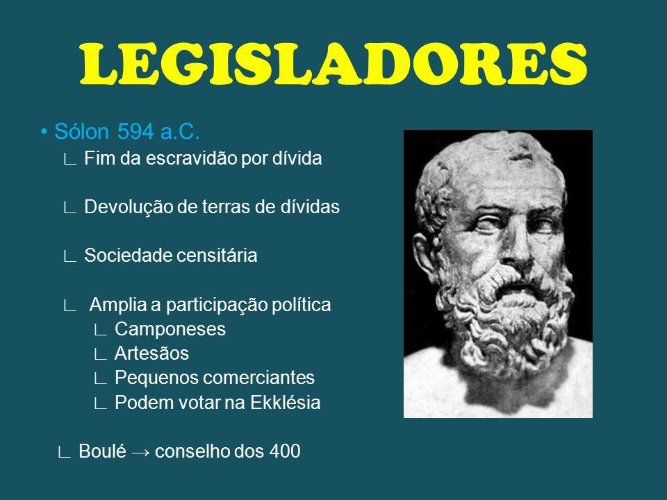 LEGISLADORES • Sólon 594 a.C. ∟ Fim da escravidão por dívida