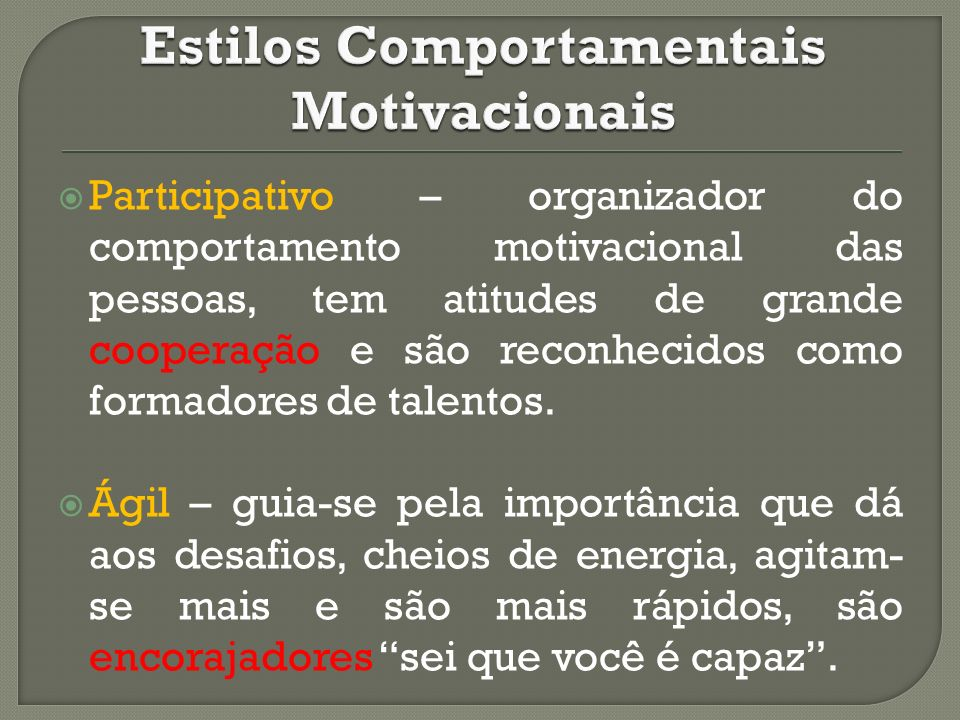 Estilos Comportamentais Motivacionais