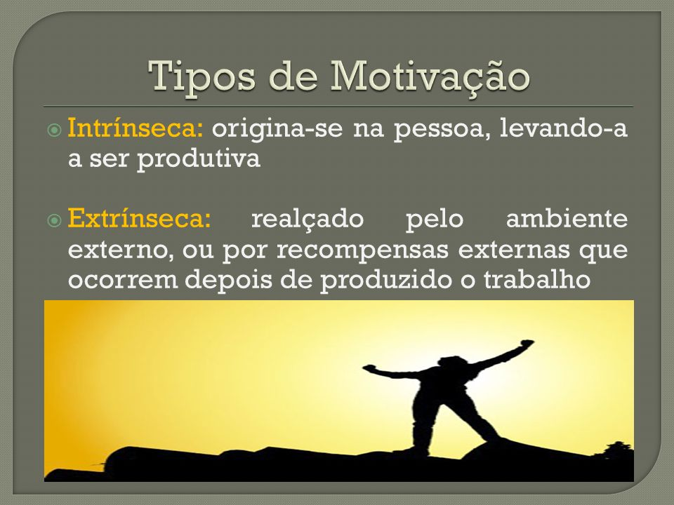 Tipos de Motivação Intrínseca: origina-se na pessoa, levando-a a ser produtiva.