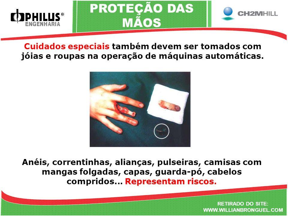 PROTEÇÃO DAS MÃOS Cuidados especiais também devem ser tomados com jóias e roupas na operação de máquinas automáticas.
