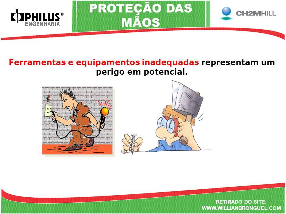 PROTEÇÃO DAS MÃOS Ferramentas e equipamentos inadequadas representam um perigo em potencial. RETIRADO DO SITE: