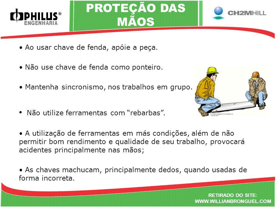 PROTEÇÃO DAS MÃOS Não utilize ferramentas com rebarbas .