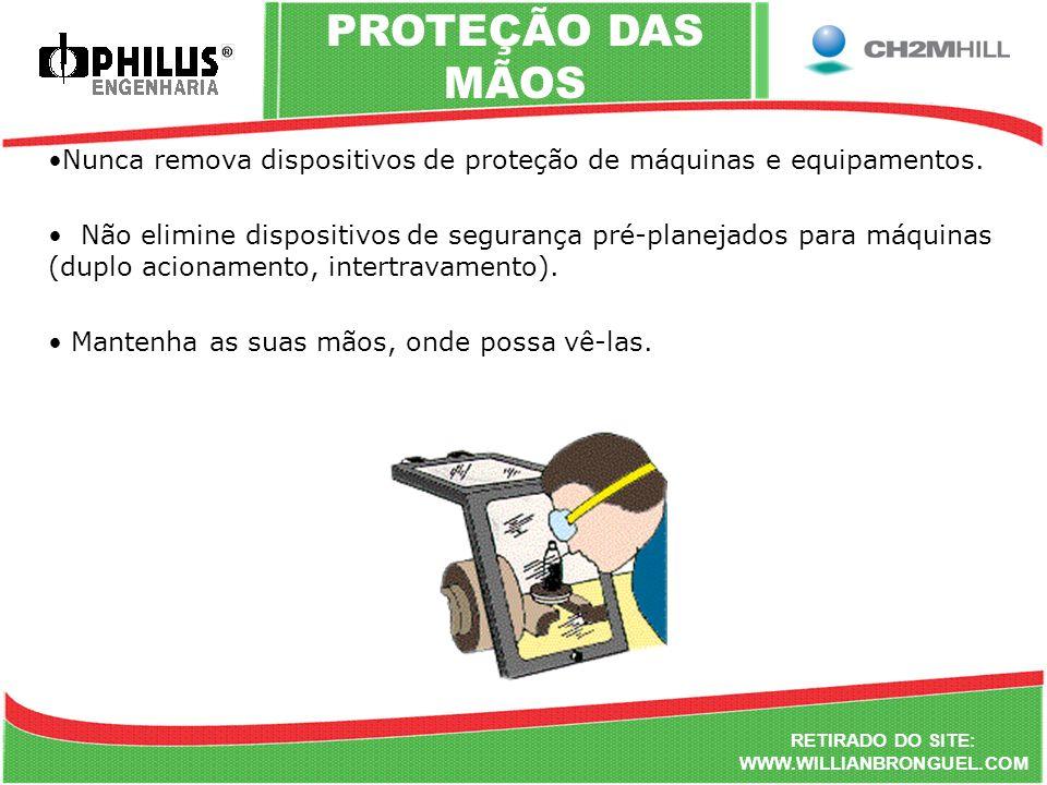 PROTEÇÃO DAS MÃOS Nunca remova dispositivos de proteção de máquinas e equipamentos.