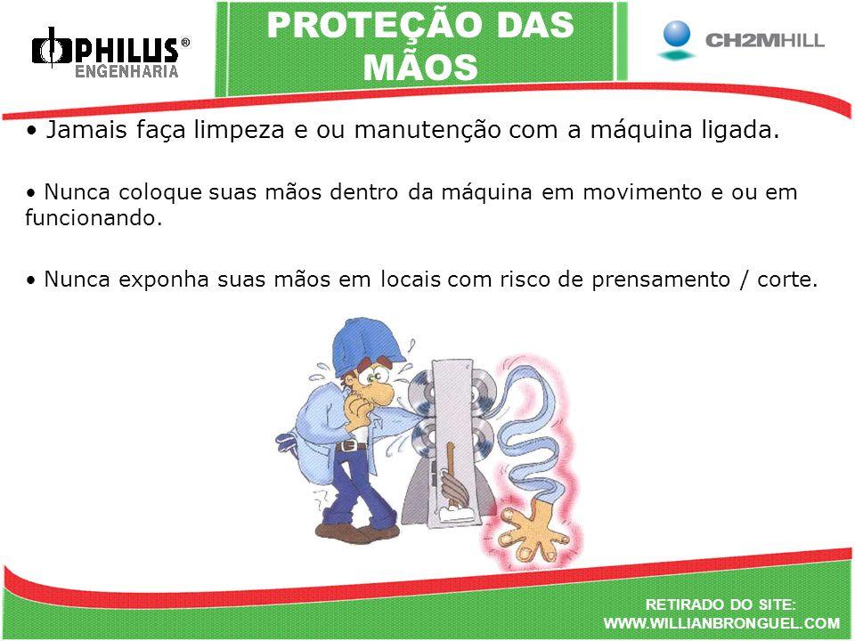 PROTEÇÃO DAS MÃOS Jamais faça limpeza e ou manutenção com a máquina ligada.