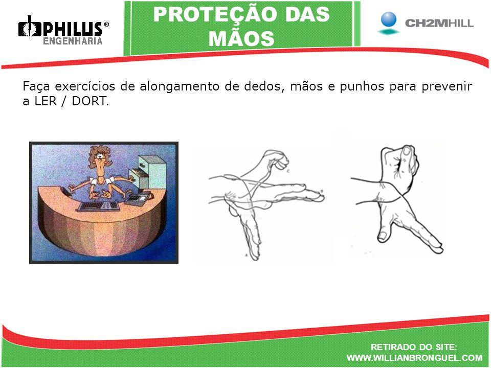 PROTEÇÃO DAS MÃOS Faça exercícios de alongamento de dedos, mãos e punhos para prevenir a LER / DORT.