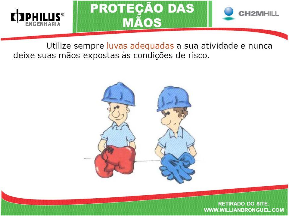 PROTEÇÃO DAS MÃOS Utilize sempre luvas adequadas a sua atividade e nunca deixe suas mãos expostas às condições de risco.
