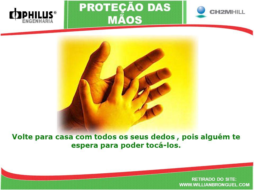 PROTEÇÃO DAS MÃOS Volte para casa com todos os seus dedos , pois alguém te espera para poder tocá-los.