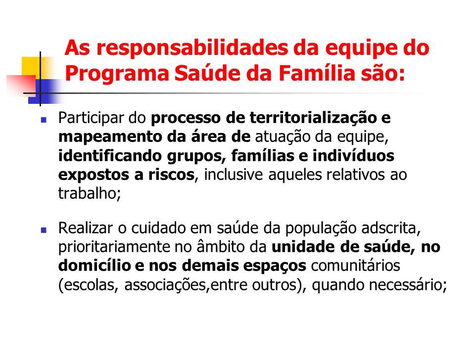 As responsabilidades da equipe do Programa Saúde da Família são: