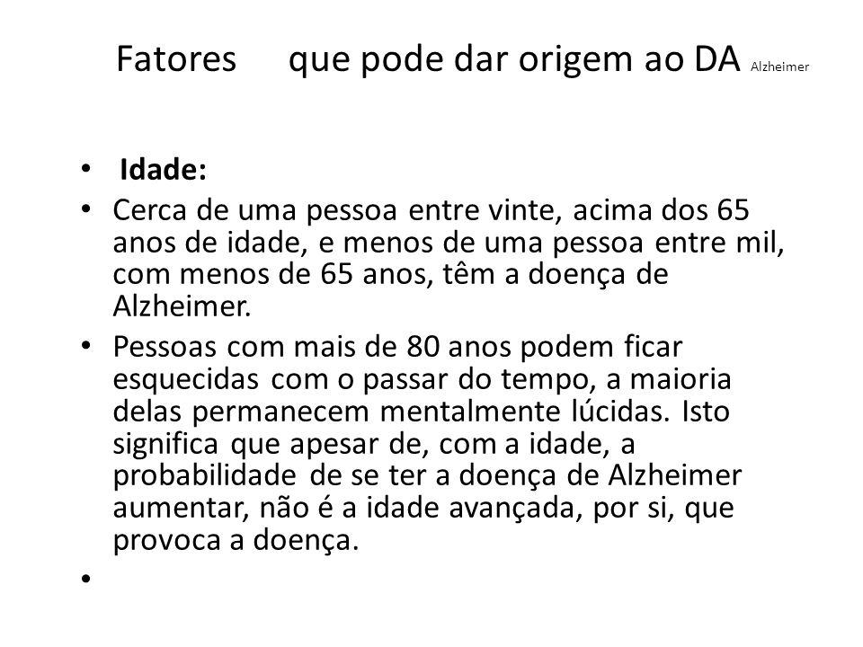 Fatores que pode dar origem ao DA Alzheimer