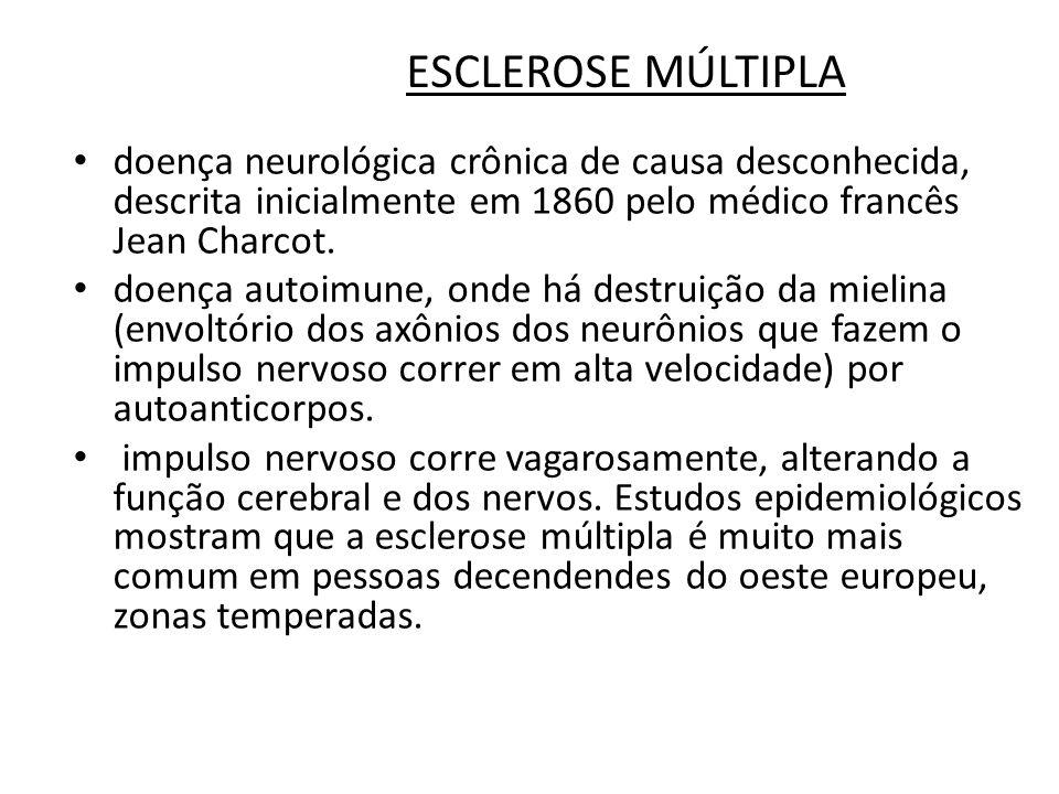 ESCLEROSE MÚLTIPLA doença neurológica crônica de causa desconhecida, descrita inicialmente em 1860 pelo médico francês Jean Charcot.