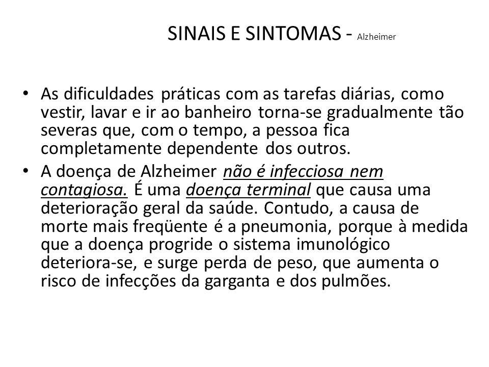 SINAIS E SINTOMAS - Alzheimer