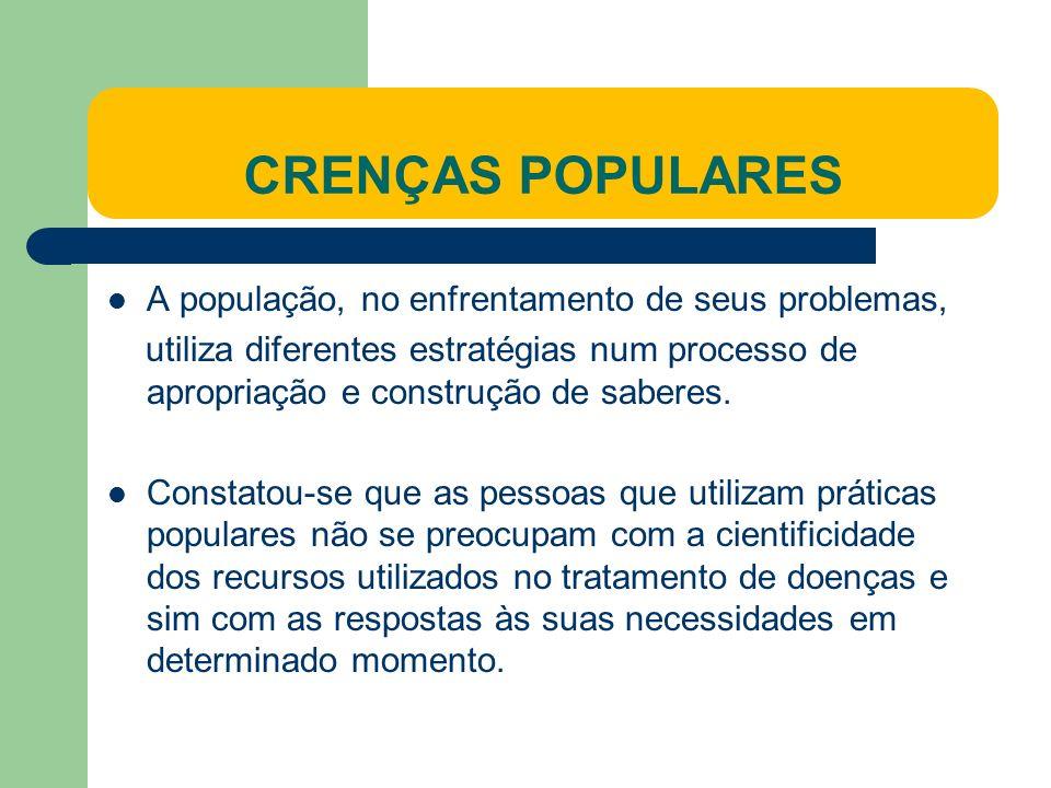 CRENÇAS POPULARES A população, no enfrentamento de seus problemas,