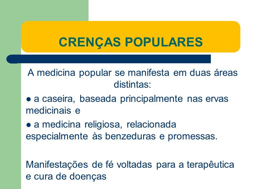 A medicina popular se manifesta em duas áreas distintas: