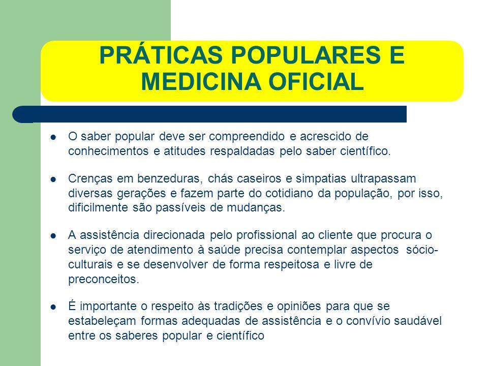 PRÁTICAS POPULARES E MEDICINA OFICIAL
