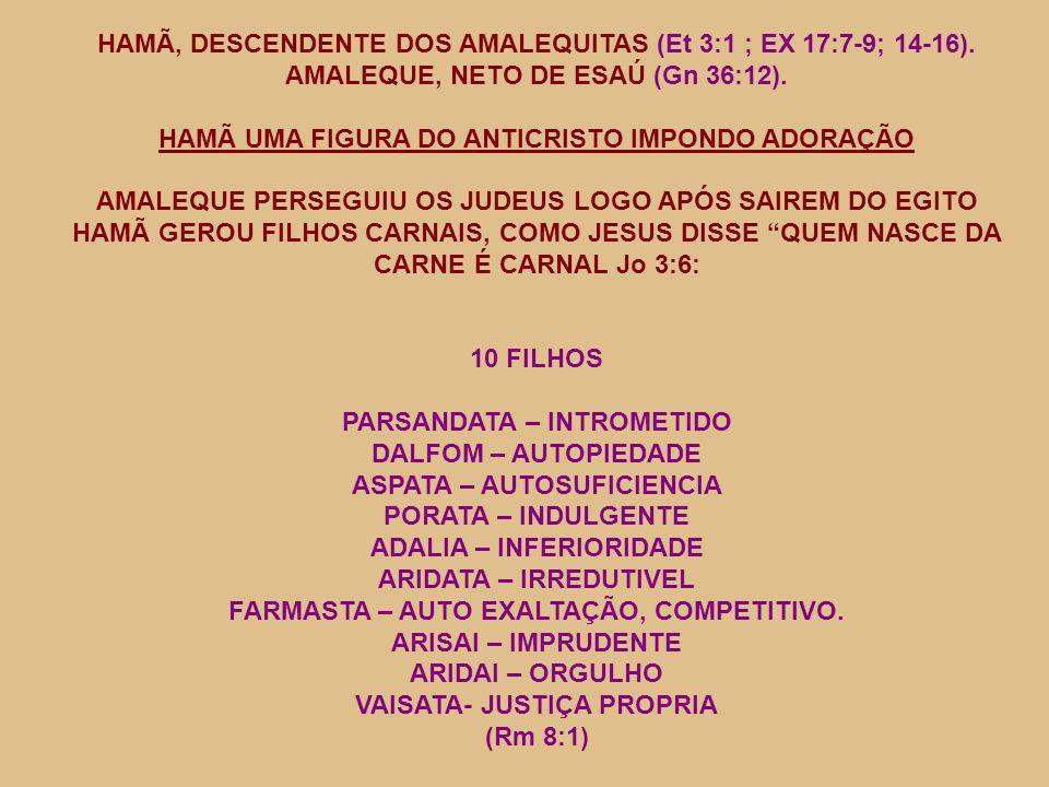 HAMÃ, DESCENDENTE DOS AMALEQUITAS (Et 3:1 ; EX 17:7-9; 14-16).