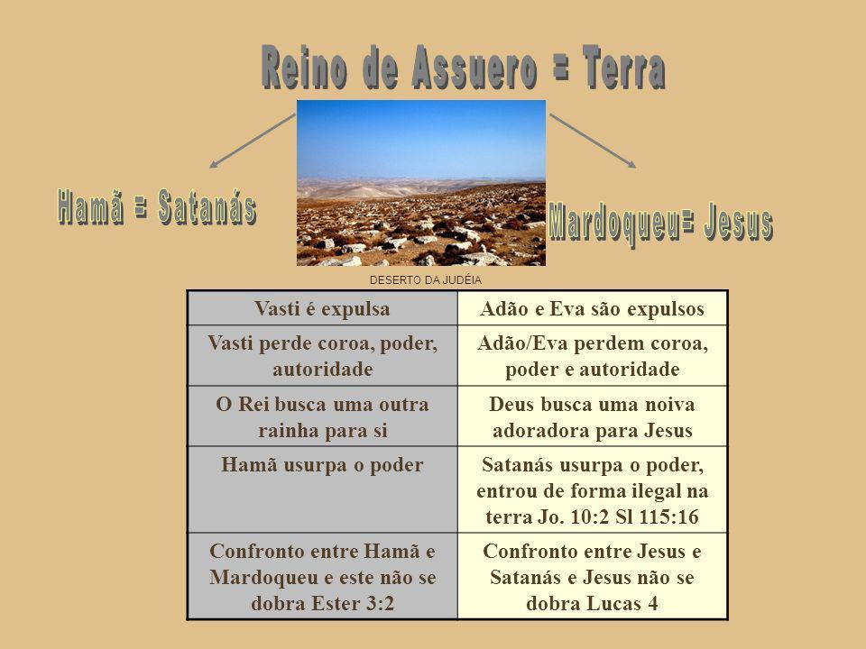 Hamã = Satanás Mardoqueu= Jesus Reino de Assuero = Terra