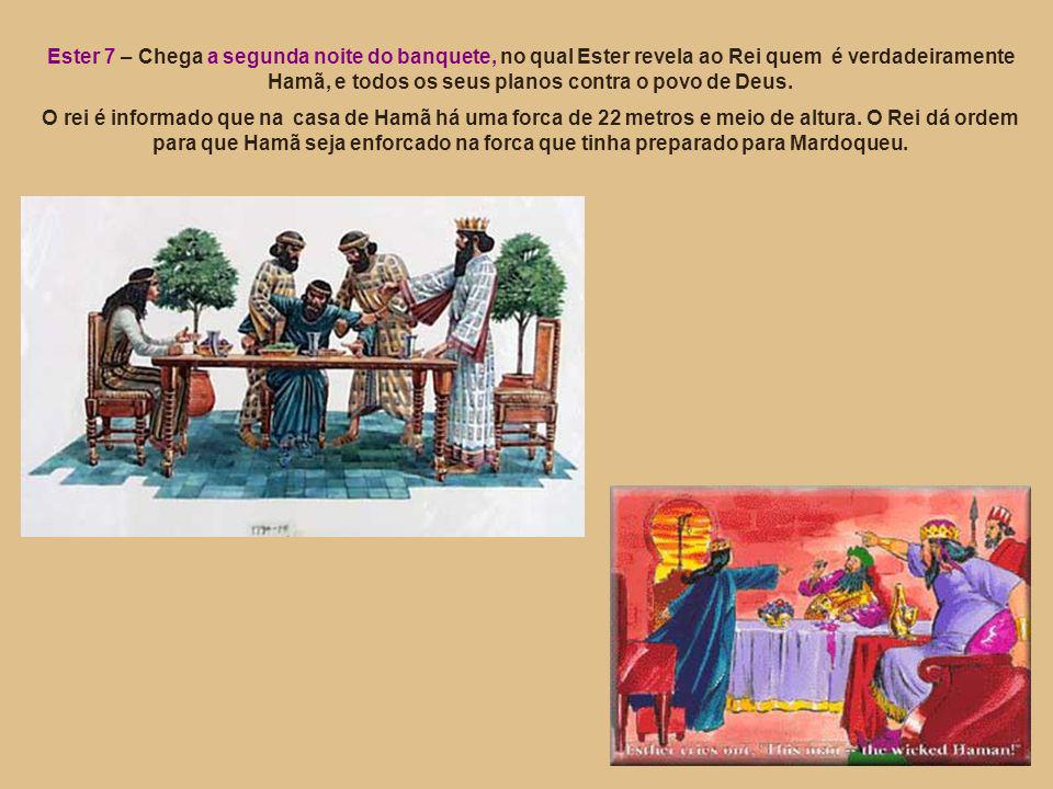 Ester 7 – Chega a segunda noite do banquete, no qual Ester revela ao Rei quem é verdadeiramente Hamã, e todos os seus planos contra o povo de Deus.