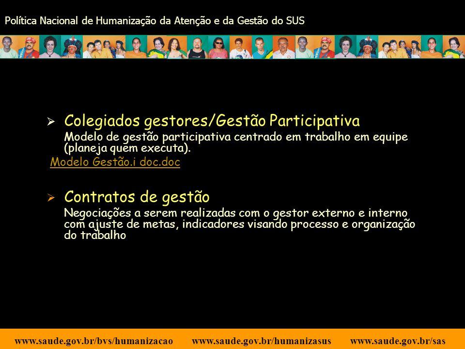 Colegiados gestores/Gestão Participativa