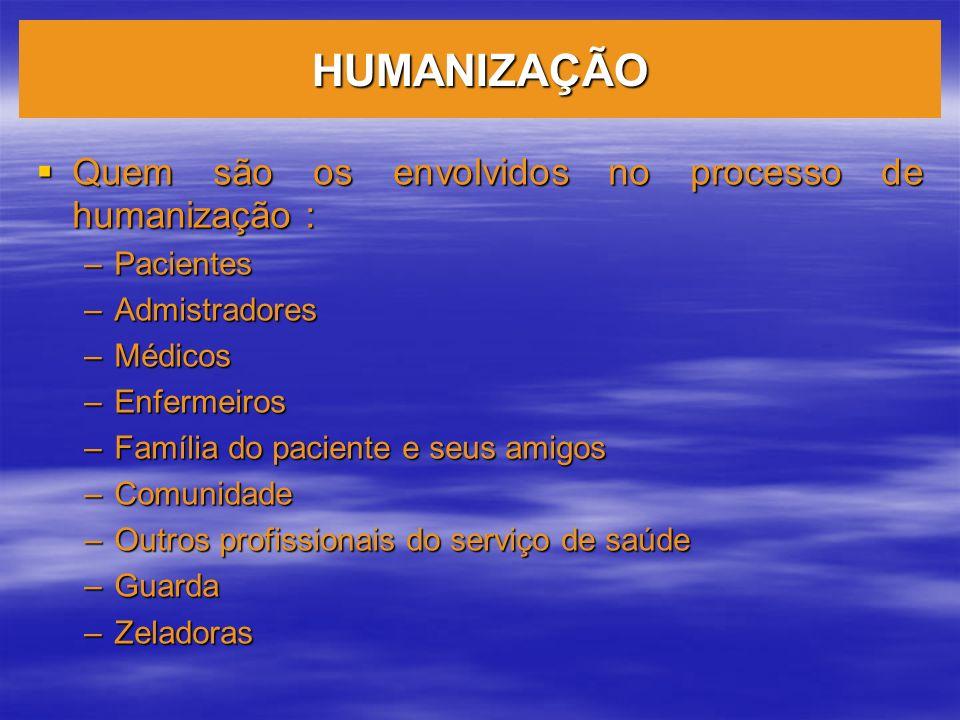 HUMANIZAÇÃO Quem são os envolvidos no processo de humanização :