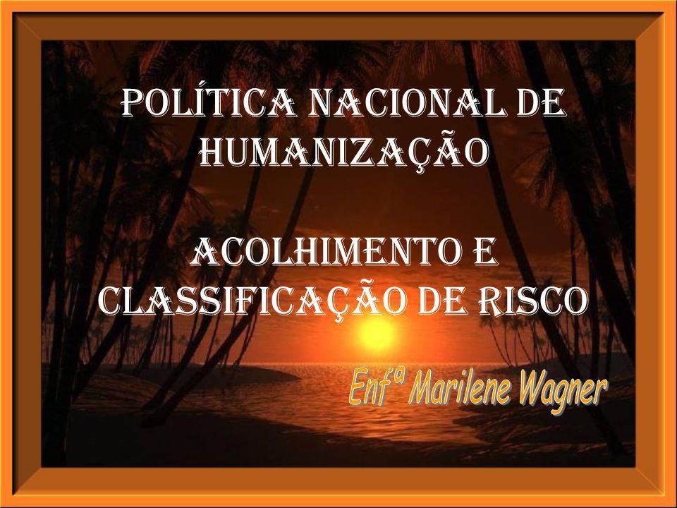 Política Nacional de Humanização ACOLHIMENTO E Classificação de Risco