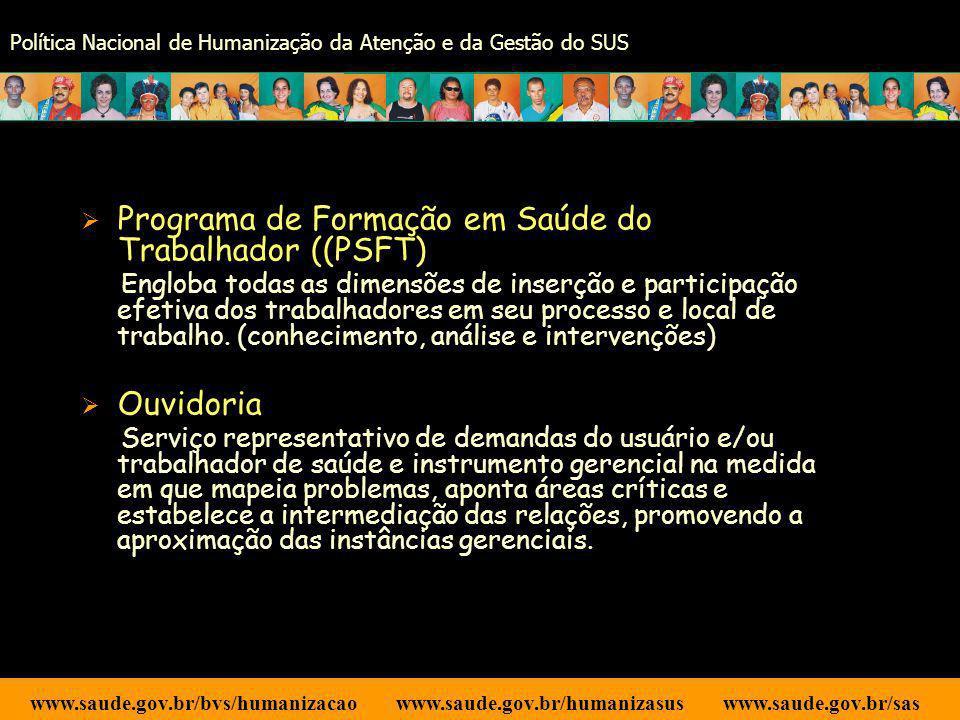 Programa de Formação em Saúde do Trabalhador ((PSFT)
