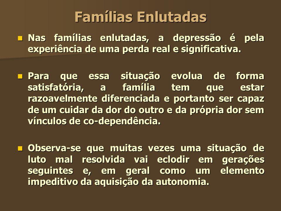Famílias Enlutadas Nas famílias enlutadas, a depressão é pela experiência de uma perda real e significativa.