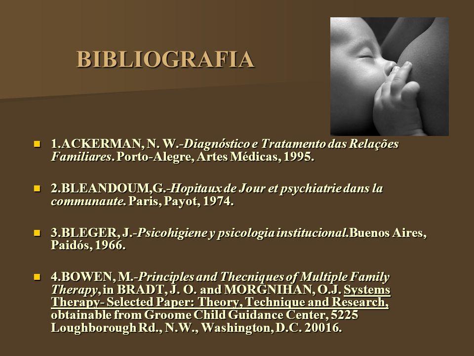 BIBLIOGRAFIA 1.ACKERMAN, N. W.-Diagnóstico e Tratamento das Relações Familiares. Porto-Alegre, Artes Médicas, 1995.