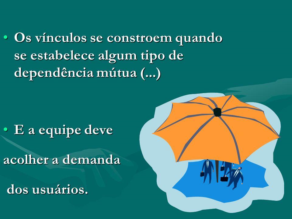 Os vínculos se constroem quando se estabelece algum tipo de dependência mútua (...)