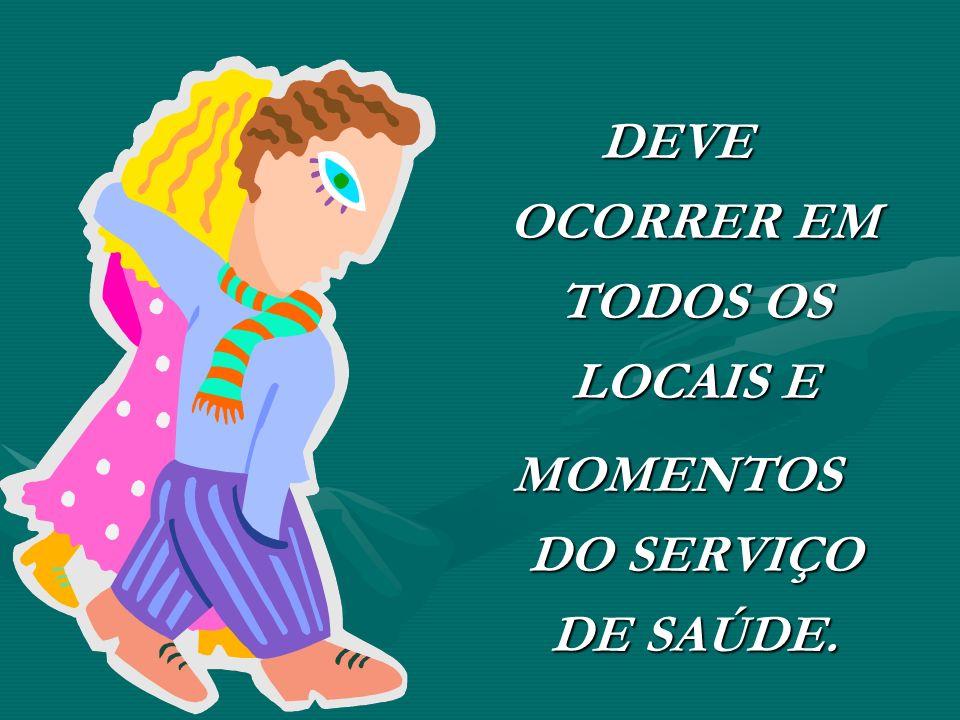 DEVE OCORRER EM TODOS OS LOCAIS E MOMENTOS DO SERVIÇO DE SAÚDE.