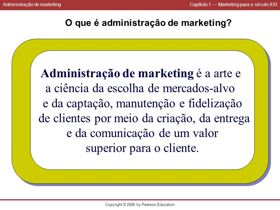 Administração de marketing é a arte e
