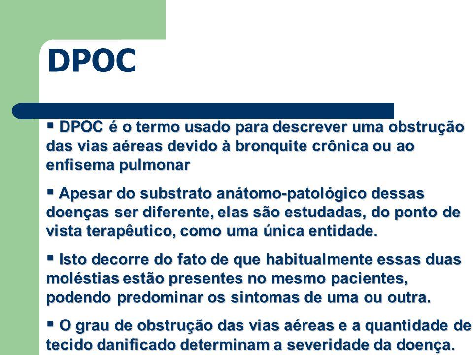 DPOC DPOC é o termo usado para descrever uma obstrução das vias aéreas devido à bronquite crônica ou ao enfisema pulmonar.