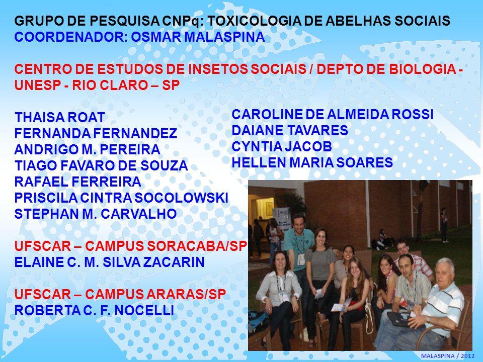 GRUPO DE PESQUISA CNPq: TOXICOLOGIA DE ABELHAS SOCIAIS