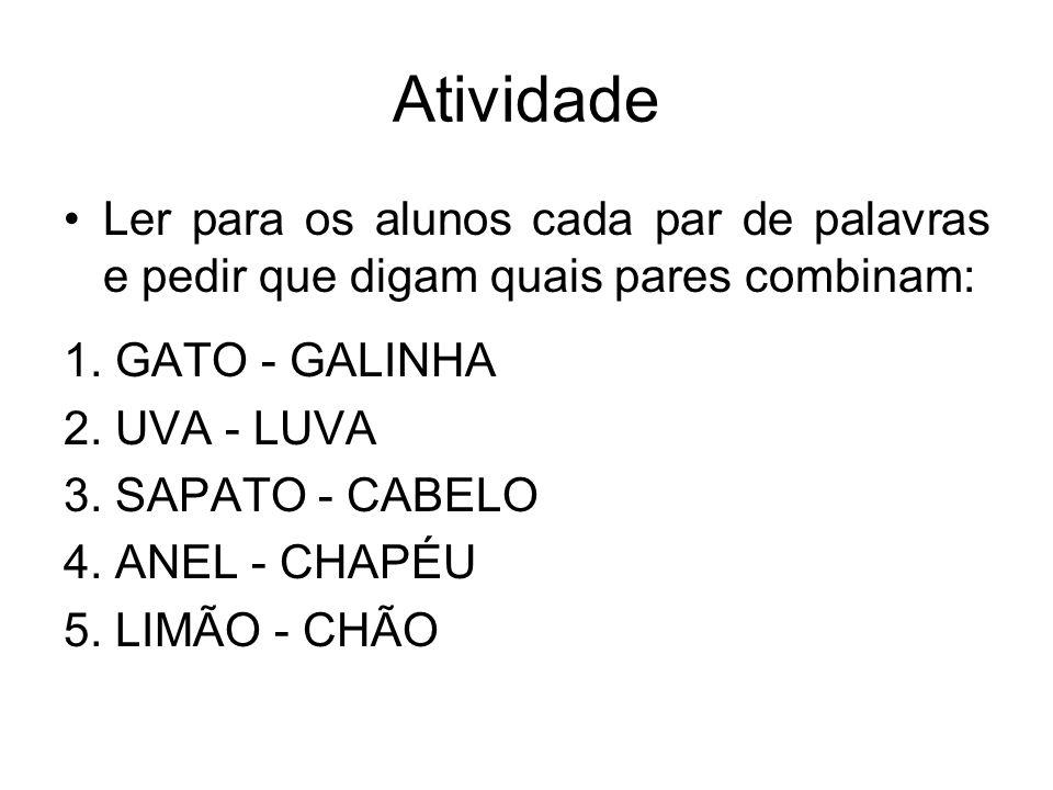 Atividade Ler para os alunos cada par de palavras e pedir que digam quais pares combinam: 1. GATO - GALINHA.